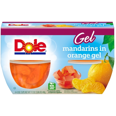 (3 Pack) Dole Fruit Bowls, Mandarins in Orange Gel, 4.3 Ounce (4 Cups) (Intense Mandarin Orange)