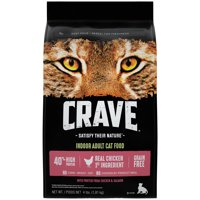 Crave Grain Free Indoor Adult with Protein from Chicken & Salmon Dry Cat Food, 4 lb