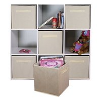 DUAL HANDLE by ADORN, Foldable Cloth Storage Cube Basket Bins Organizer Container Drawers, 6 Pack -- Beige