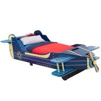 KidKraft Airplane Toddler Bed with Storage, Blue