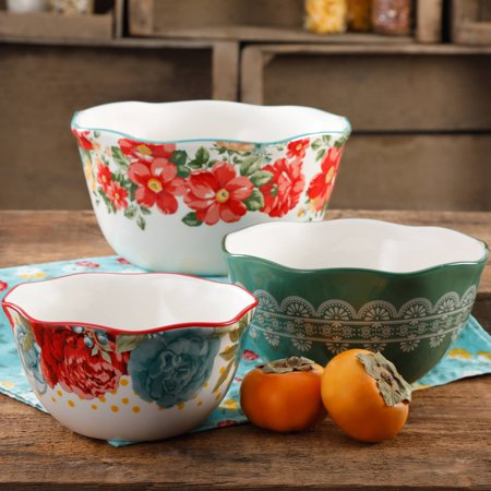 The Pioneer Woman Vintage Floral Nesting Bowl Set, 3 Piece