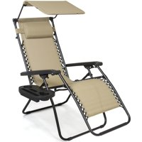 Best Choice Products Folding Zero Gravity Recliner Lounge Chair w/ Canopy Shade & Magazine Cup Holder