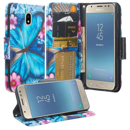 For StraightTalk Samsung Galaxy J7 Crown (S767VL) Case Leather Wallet Case [ID&Credit Card Slots] Flip Phone Cases - Blue Butterfly ()