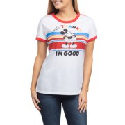 c433d316c Juniors' No Thanks Mickey Mouse Licensed Contrast Ringer Graphic Short  Sleeve T-Shirt