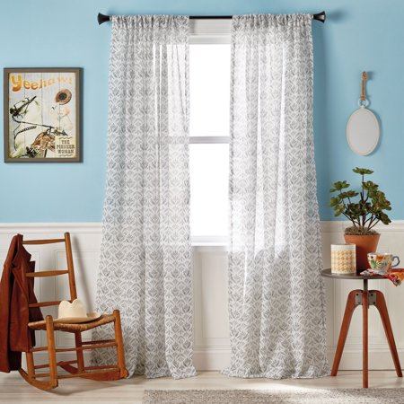 The Pioneer Woman Frontier Fleur Pole Top Curtain Panel Banded Bottom Drape Top