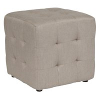 Flash Furniture Avendale Tufted Upholstered Ottoman Pouf in Beige Fabric