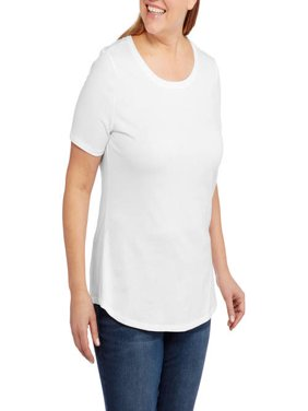 259fcdf90736d Product Image Women s Plus-Size Short Sleeve Crew Neck Tee. Product  Variants Selector. Turquoise White. Faded Glory