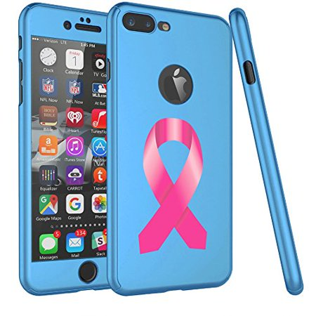For Apple iPhone 360° Full Body Thin Slim Hard Case Cover + Tempered Glass Screen Protector Breast Cancer Color Awareness Ribbon (Light Blue For iPhone 6 / 6s) - Breast Cancer Awareness Colors