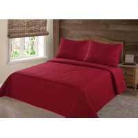 MODREN COLLECTION 1900 COUNT TWIN NENA RED SOLID CLOSOUT QUILT BEDDING BEDSPREAD COVERLET PILLOW CASES SET