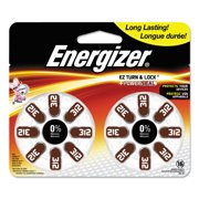 Energizer EZ Turn & Lock + Power Seal Zinc Air Hearing Aid Batteries, 1.4V, Mercury-free, Size 312, Pack of 16