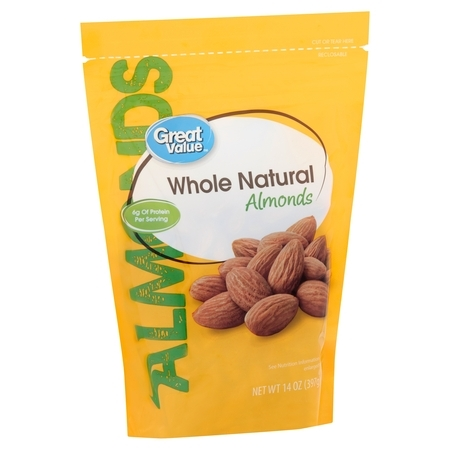 Great Value Whole Natural Almonds, 14 Oz. Almonds 16 Oz Jar