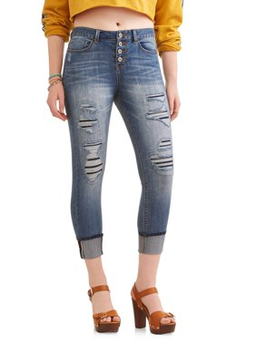 Juniors' Destructed Exposed Button Crop Jeans