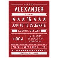 Birthday Banner Birthday Teen Boy Invitation
