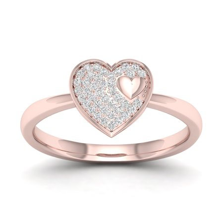 1/10Ct TDW Diamond 10k Rose Gold Heart Cluster Ring
