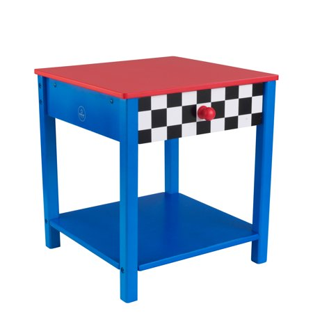 KidKraft Wooden Racecar Toddler Bedside Table with One Drawer and Shelf - Red and Blue