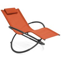 Best Choice Products Folding Orbital Zero Gravity Lounge Chair w/ Removable Pillow (Orange)
