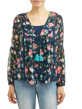 Women's Woven Blouse Jacket with Cami