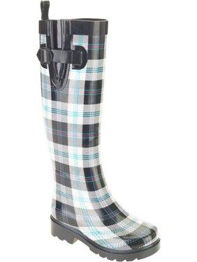 Women's Summer Plaid Printed Tall Rubber Rain Boots