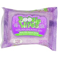 Boogie Gentle Saline Wipes for Little Noses, Great Grape 30 Each (Pack of 2)