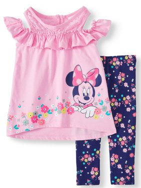 Little Girls' Minnie Mouse Cold Shoulder Floral Top and Legging, 2-Piece Outfit Set