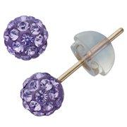 ca60b4a68 Junior Jewels Children's 10-karat Gold Multicolored-crystal Stud Earrings  Purple