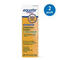 (2 Pack) Equate Maximum Strength Antibiotic Plus Pain Relief Cream, 0.5 Oz