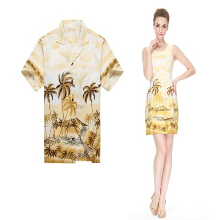 Made in Hawaii Couple Matching Luau Aloha Shirt Tank Dress Palm Edge Yellow 3XL-S