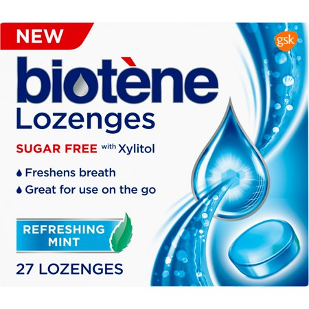 - Biotene Dry Mouth Lozenges for Fresh Breath, Refreshing Mint, 27 count
