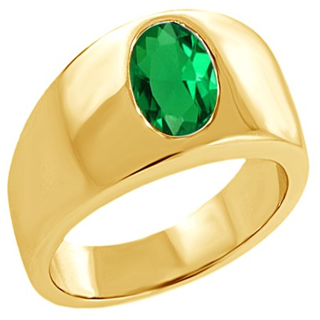 2.30 Ct Oval Created Green Emerald Men's Solitaire Ring In 14K Yellow Gold Over Sterling Silver