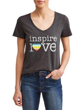 Inspire Love Short Sleeve V-Neck Graphic Tee Women's