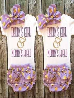 3Pcs Toddler Newborn Baby Girls Rompers+Tutu Pants+Headband Outfits Set Clothes