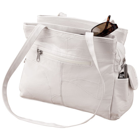 Fabric Black Leather Handbag (White Patch Leather Handbag )