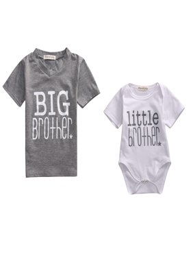 New Little Brother Baby Boy Romper Big Boy T-shirt Tops Tee Matching Outfits