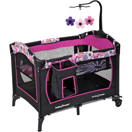 Baby Trend Nursery Center Playard, Floral (Fold Portable Play Yard Crib)