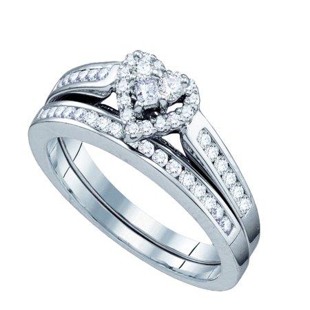 10k White Gold Round Princess Natural Diamond Heart Womens Wedding Bridal Ring Set .55 cttw.) size- (5.5