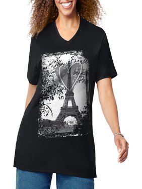 Women's Plus-Size Graphic Short Sleeve V-neck Tee