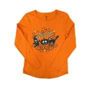 435b7099 Happy Halloween Womens Orange Spooky T-Shirt Ghost Cat Jack-O-Lantern Tee