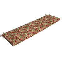 Mainstays Red Tropical Outdoor Patio Bench Cushion, 46 in. W x 17 in. D x 3 in. H