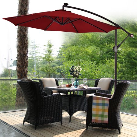 Costway 10' Hanging Solar LED Umbrella Patio Sun Shade Offset Market W/Base Burgundy