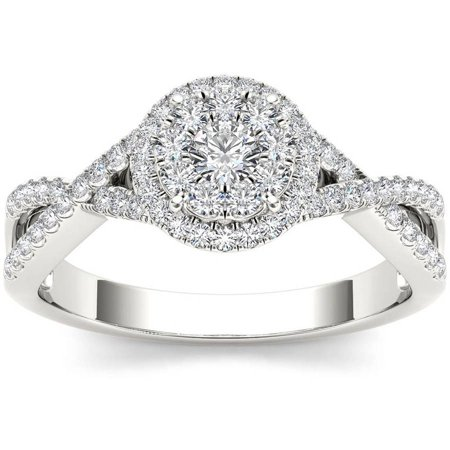 1/2 Carat T.W. Diamond Criss-Cross Shank Halo Cluster 10kt White Gold Engagement Ring