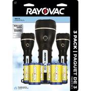 Rayovac Brite Essentials 2AA & 2D LED Robust Rubberized 3-Pack BER2AA2D-B3TA