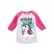 Awkward Styles Birthday Girl Toddler Raglan Unicorn Jersey Shirt 3rd Gifts For 3 Year