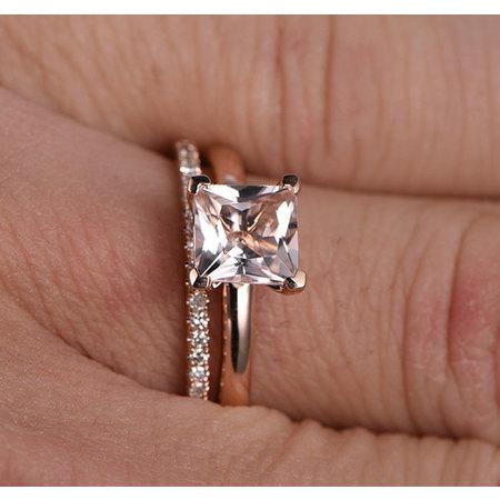 Perfect Bridal Set 1.25 carat Princess Cut Morganite and Diamond Bridal Set in Rose Gold: Bestselling Design Under Dollar