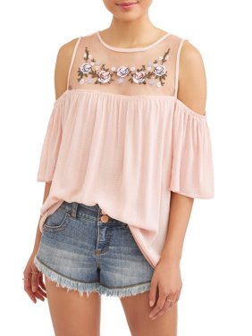 Juniors' Mesh Embroidered Yoke Cold Shoulder Peasant Blouse