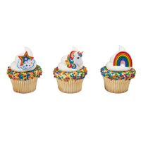 24 Rainbow And Unicorn Cupcake Cake Rings Birthday Party Favors Cake Toppers