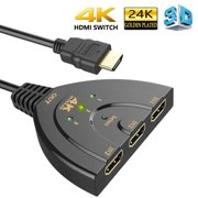 HDMI Switch, 3 Port 4K HDMI Switch 3x1 Switch Splitter with Pigtail Cable Supports Full HD 4K 1080P 3D Player