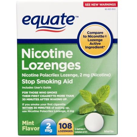 Equate Nicotine Lozenges, Mint Flavor, 2 mg, 108 Count 2.5 Mg 100 Lozenges