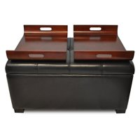 Design4Comfort Faux Leather Storage Ottoman with Trays, Espresso