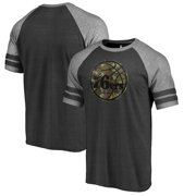 b0f699154cdd Philadelphia 76ers Fanatics Branded Prestige Camo 2-Stripe Raglan T-Shirt -  Black