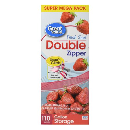Great Value Double Zipper Storage Bags, Gallon, 110 -